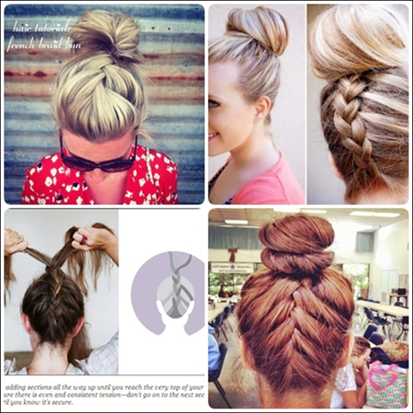 Simple French braid updo hairstyles for medium hair - Hair ...