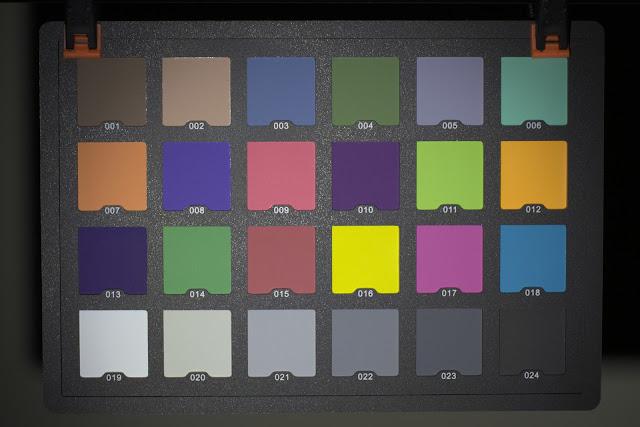 Karta kolorów oświetlona latarką Olight S2R BatonII