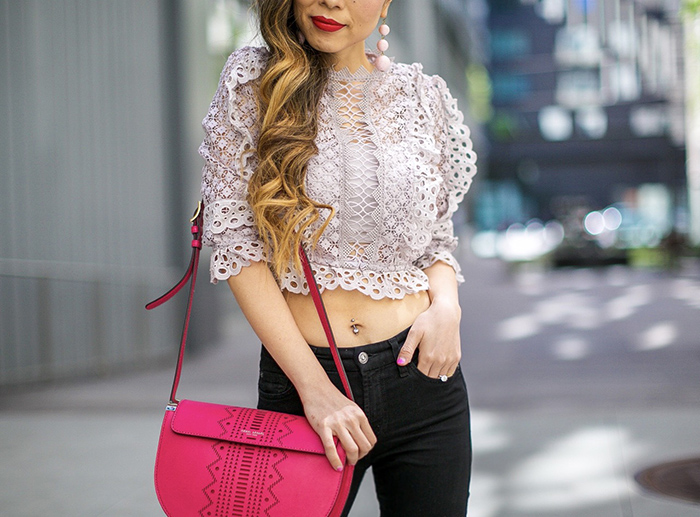 Crochet Cropped Top in Lilac, chicwish cropped top, lace cropped top, henri bendel bag, matisse sandals, 7fam baire denim, baublebar earrings, san francisco street style, san francisco fashion blog, spring outfit ideas