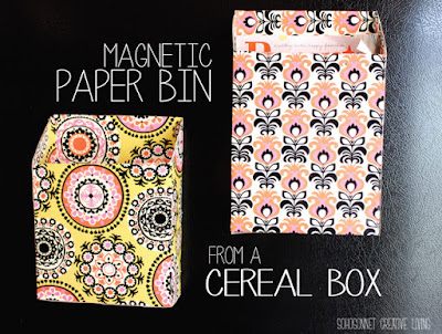 http://www.sohosonnet.com/crafts-and-diy/cereal-box-upcycled-into-a-magnetic-paper-bin/