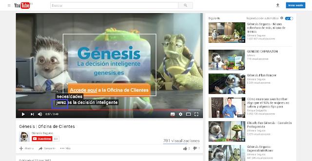 Video de Genesis, donde ponen de texto subtitulado Jerez
