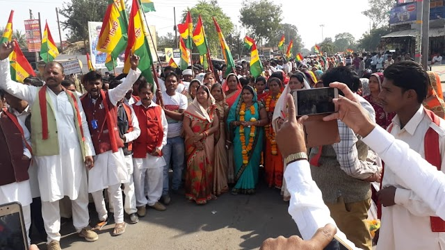भाशचे की रैली व सभा मे उमड़ी लाल पट्टी धारियों की भीड़.. भाजपा कांग्रेस को एक सिक्के के दो पहलू बताया..