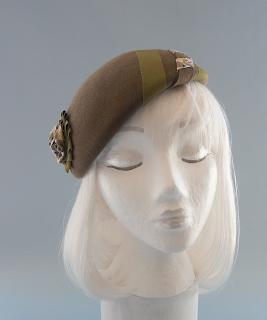 olive green fur felt beret