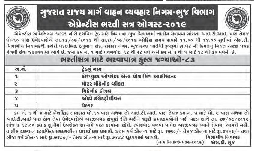 GSRTC Bhuj Recruitment For 83 Apprentice Posts 2019