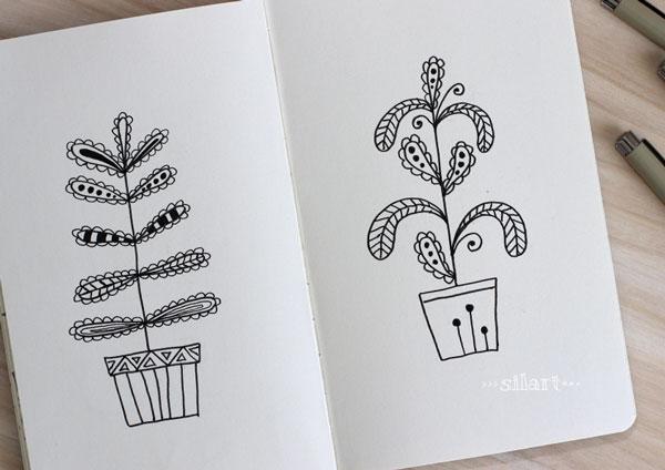 Sketchbook plants doodle