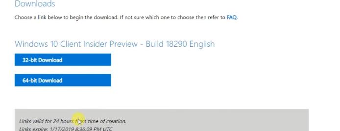 Download Windows 10 19H1 Insider Preview build 18290 32 bit or 64