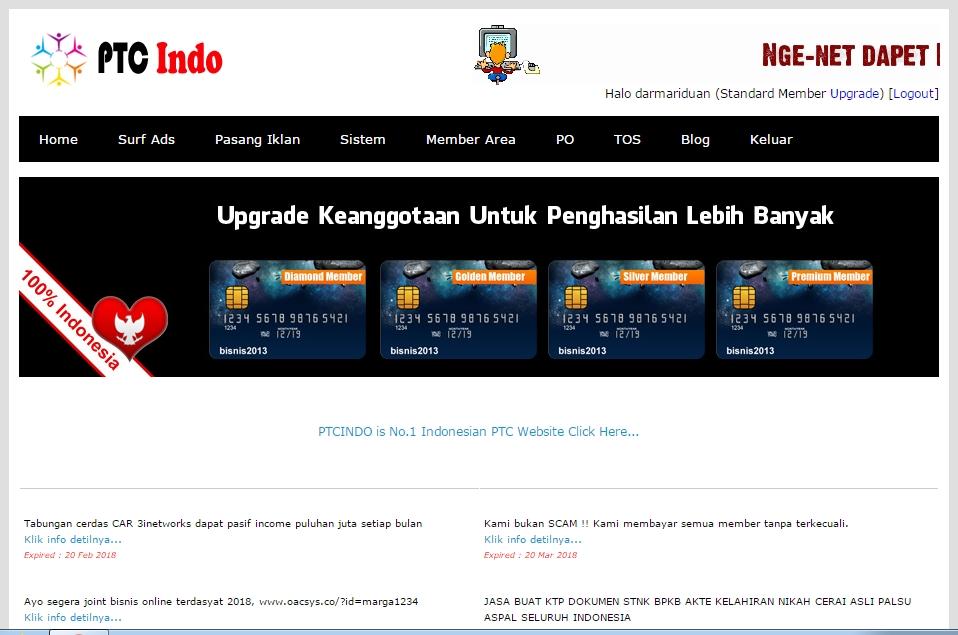 Menghasilkan uang dari PTC Indo