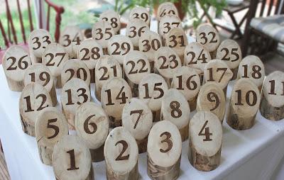 rustic log table numbers