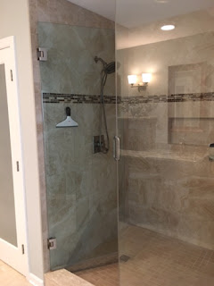 A new shower in a bathroom