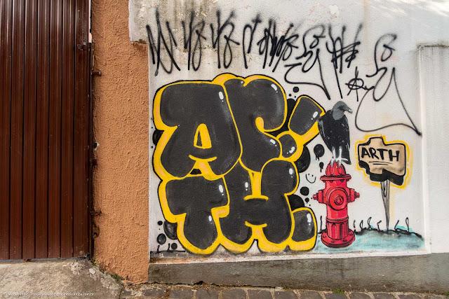 Grafite em muro mostrando um urubu pousado em um hidrante