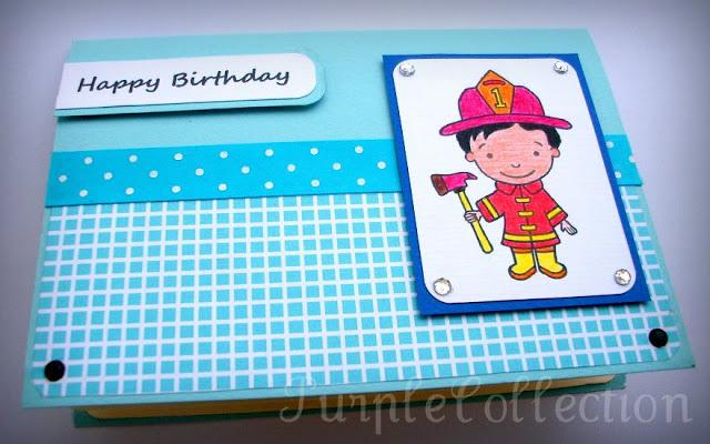Birthday Card, blue birthday card, billy the fireman