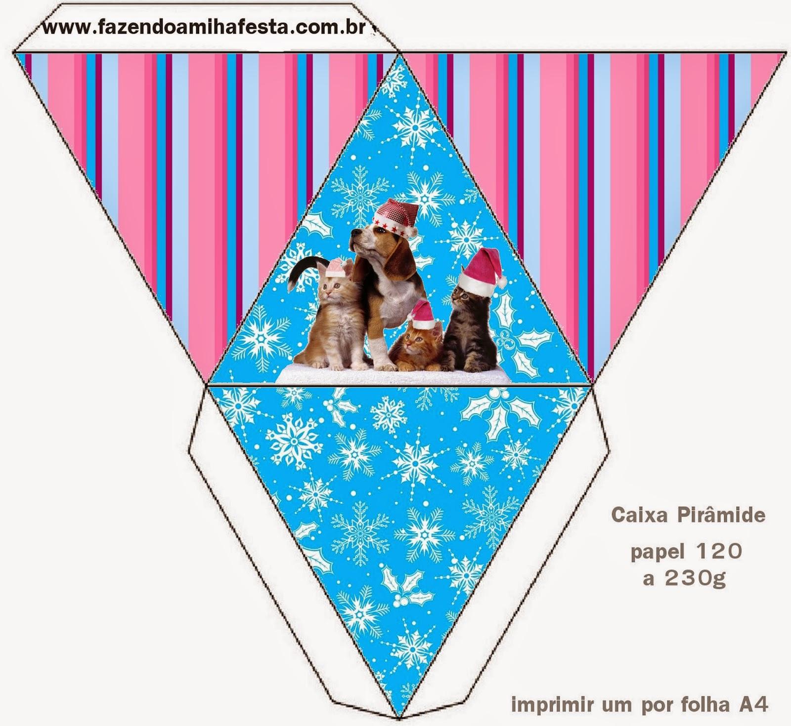Caja con forma de pirámide de Perro y Gato en Navidad.