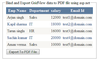 Bind and Export GridView data to PDF File in asp.net