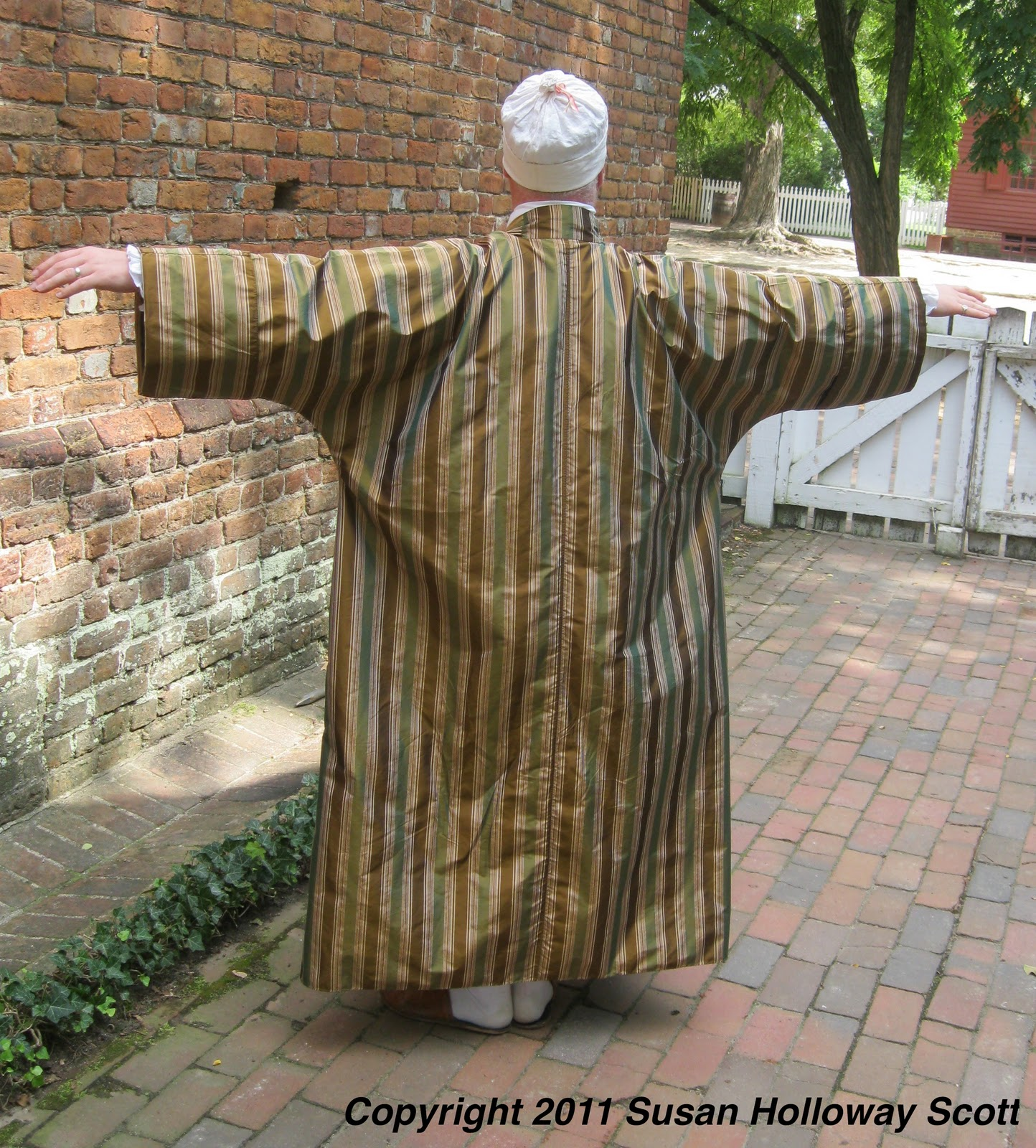 d6522dc71 Mark made the wrapping gown that he is wearing in these pictures based on  18th c examples. The fabric is a silk woven stripe