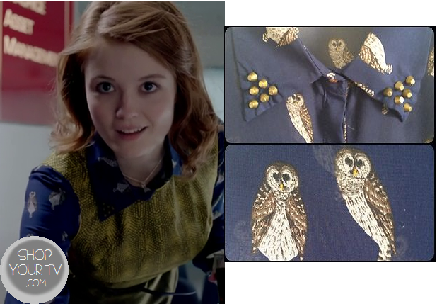 Skins: Season 7 Episode 1 Assistant's Blue Owl Blouse | Shop Your TV
