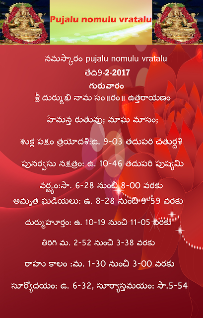 Today's panchangam in Telugu,Pujalu nomulu vratalu,rasi phalau in telugu,rasi phalau in english