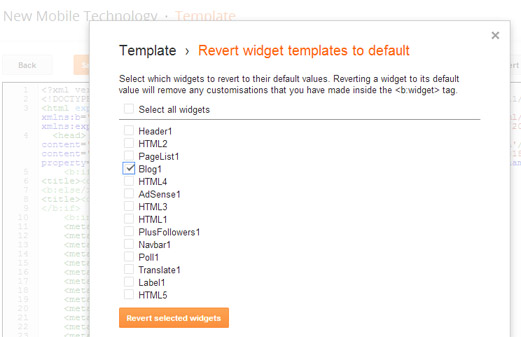 revert template to default Select 'Blog1'
