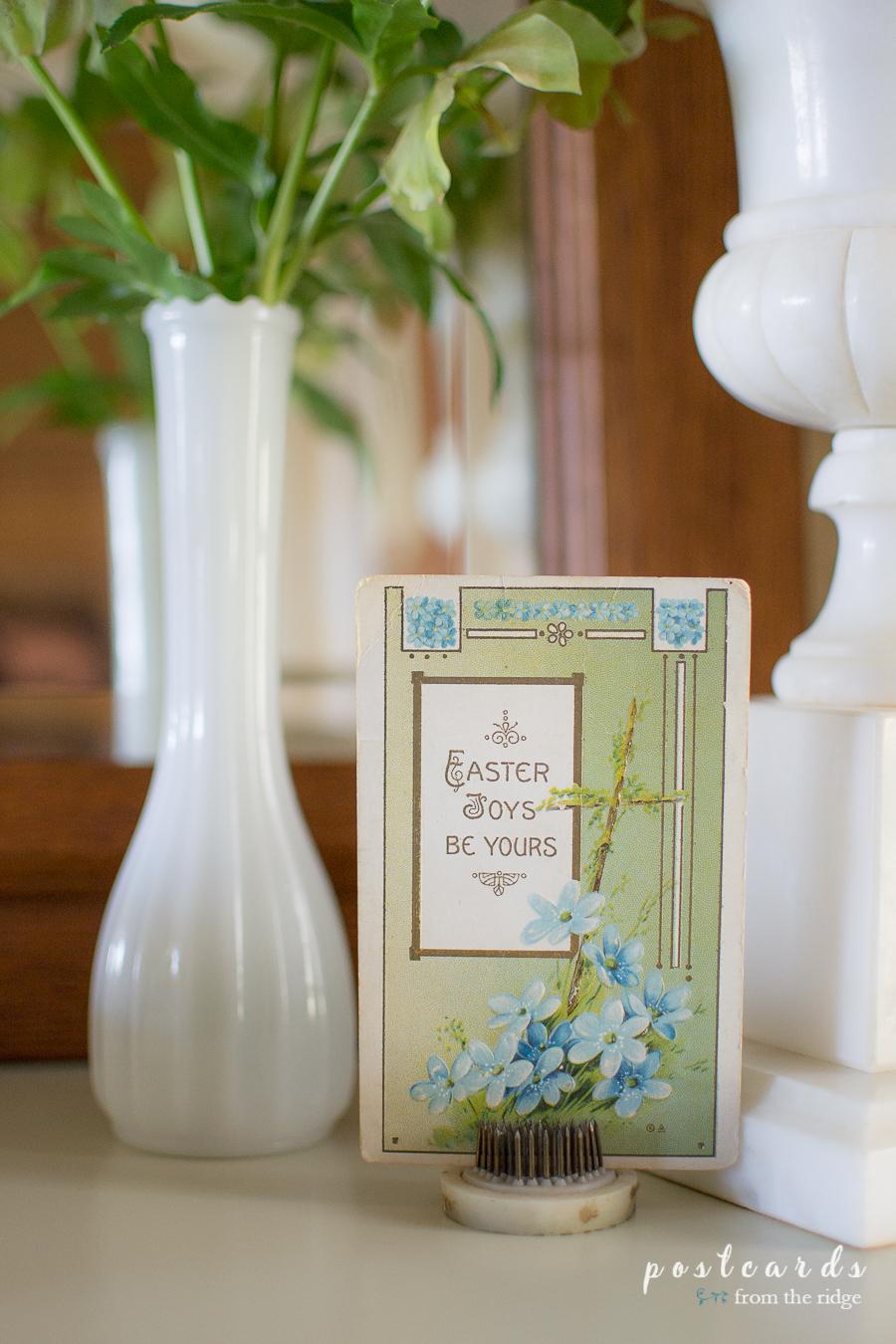 vintage Easter postcard in a metal flower frog