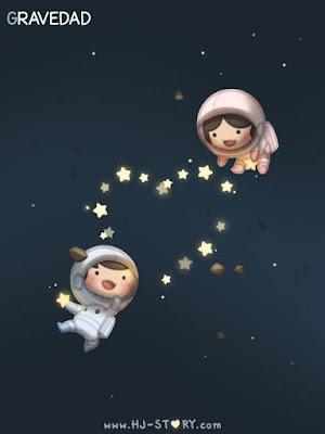 Imágenes muy lindas y tiernas de amor, niños en el espacio