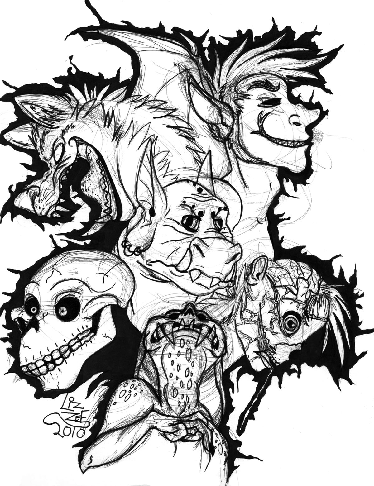 scary monster coloring pages | Dash of Panda: Scary Monsters and Super Creeps