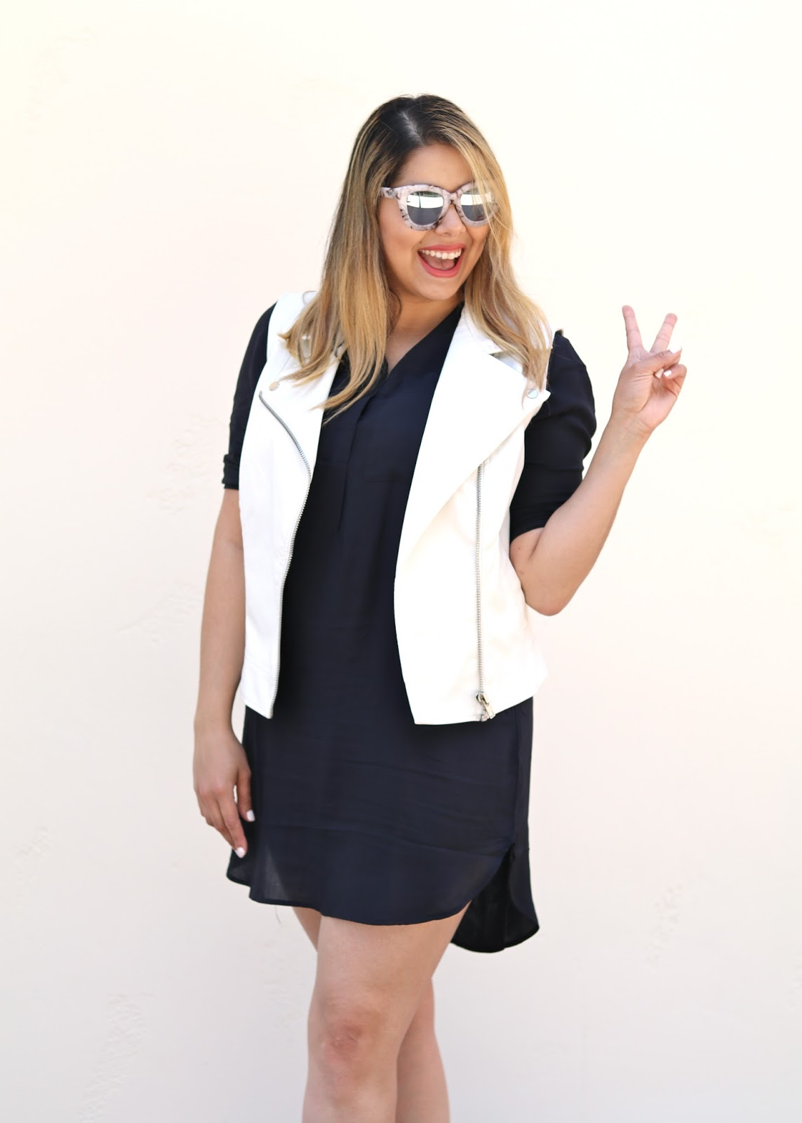 White Moto Vest Outfit, San Diego Fashion Blogger, San Diego Style, how to wear a white moto vest, white moto vest look, quay sunglasses
