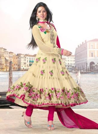 7d4cca7e4e Anarkali Dress | Cream Anarkali Designs | Latest Anarkali Frocks ...