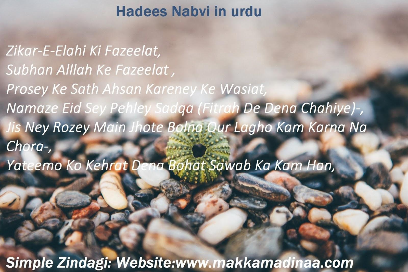 Hadees Nabvi in Urdu