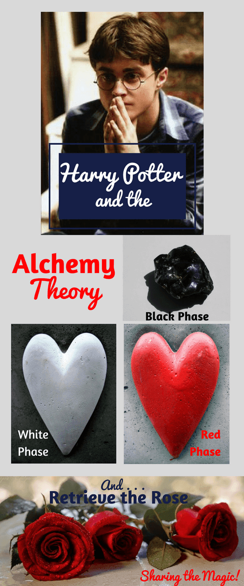 Pinterest Image: Harry Potter Pondering, Black Stone, White Heart-Shaped Stone, Red Heart-Shaped Stone, and 3 Red Roses