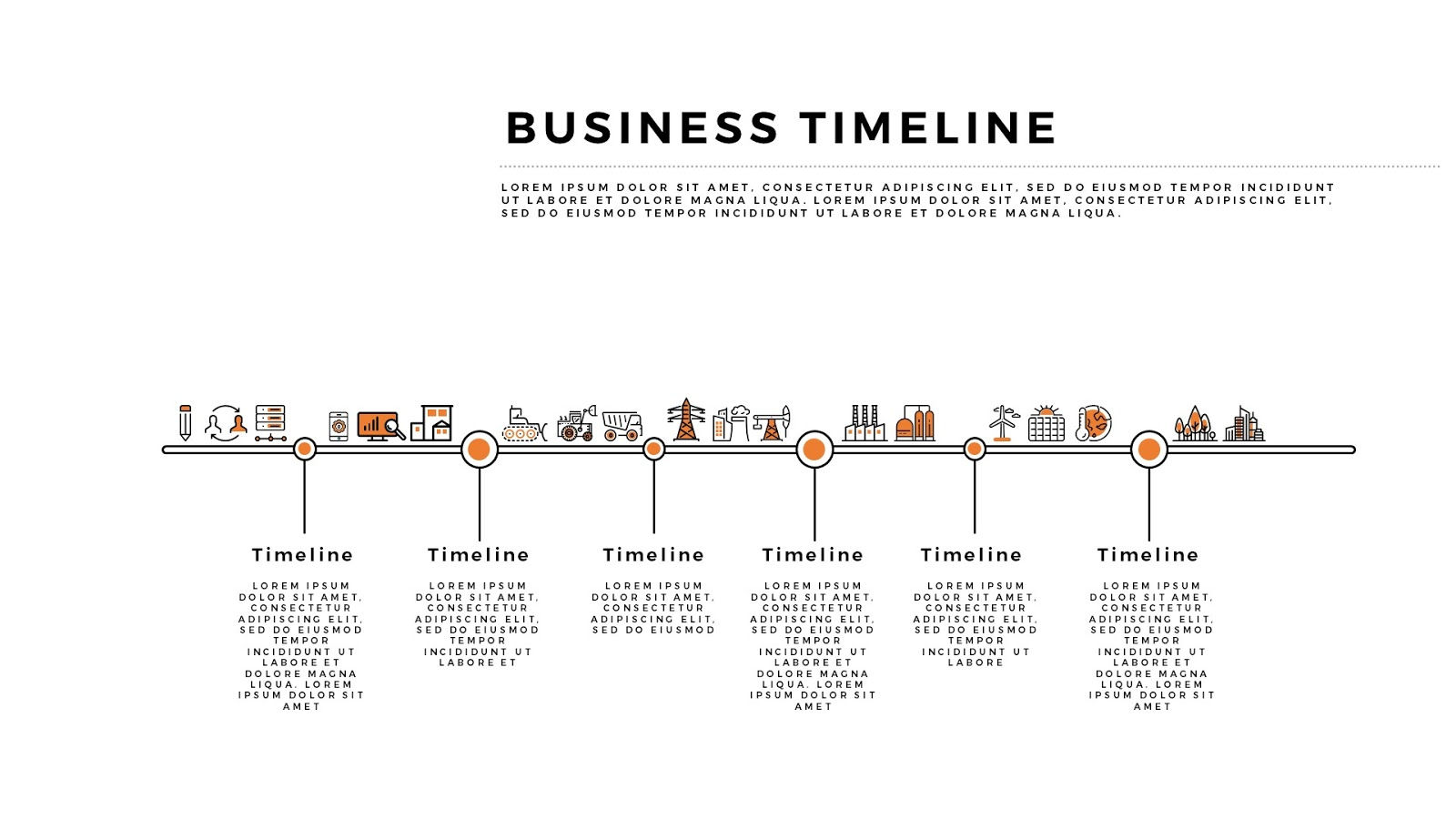 Free Infographic Horizontal Business Timeline For PowerPoint - Business timeline template