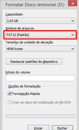 Formatando pen drive no Windows
