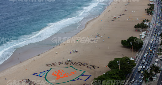 Hundreds create aerial art to stand up to fossil fuels and protect the AMAZON REEF