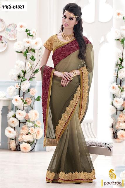 beige color chiffon designer saree collection for enegagement