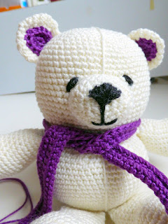 crochet amigurumi white bear lds baptism embroidery