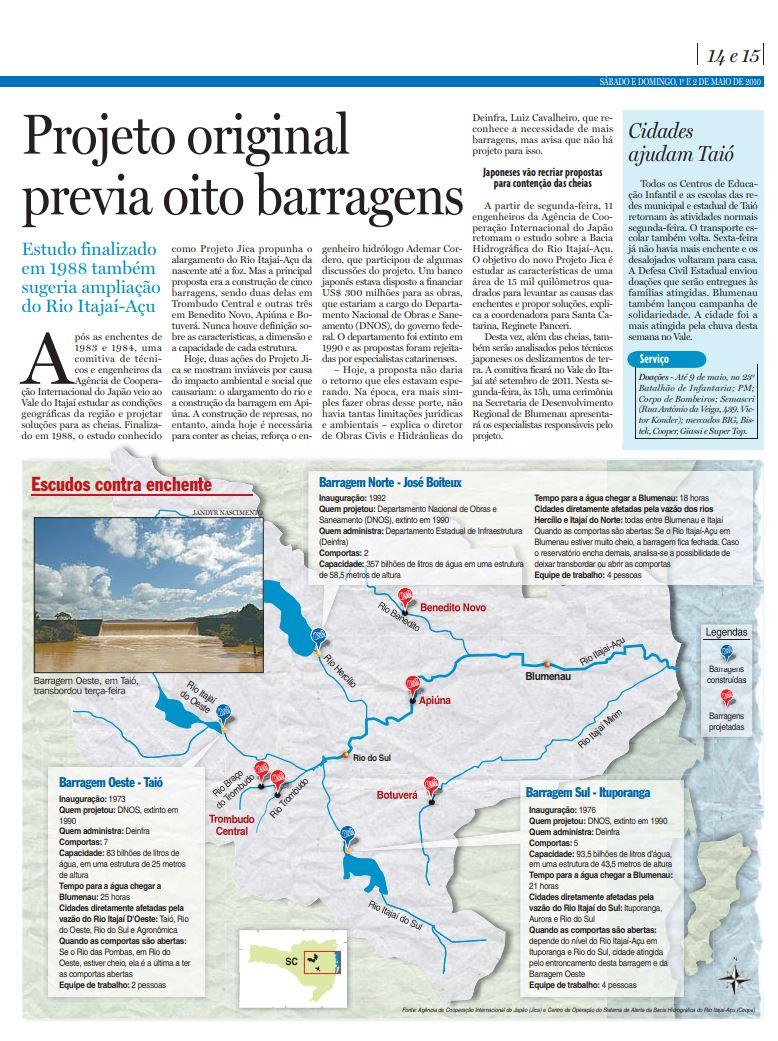 Projeção de enchente em Blumenau e Rio do Sul se Barragens do Vale do Itajaí não existissem, pelo Ceops, para Cristian Edel Weiss, Cristian Weiss, do Jornal de Santa Catarina RBS NSC Comunicação