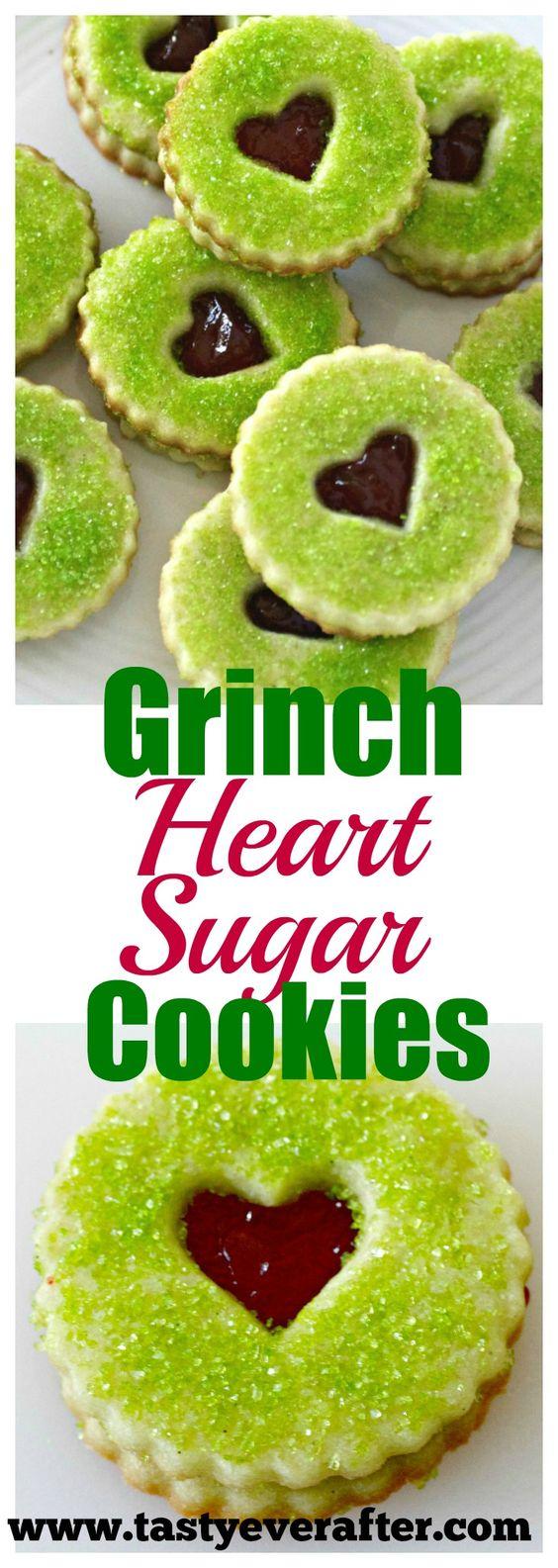 Yummy Grinch Heart Raspberry Filled Sugar Cookies