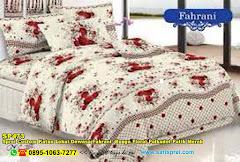 Sprei Custom Katun Lokal Dewasa Fahrani  Bunga Floral Polkadot Putih Merah
