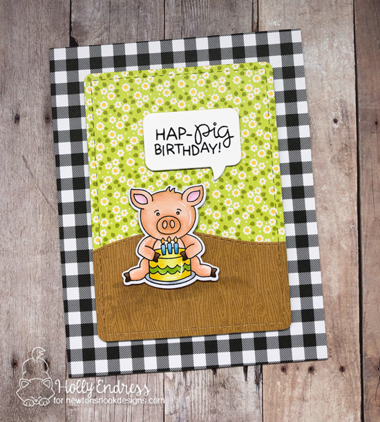 Hap-PIG Birthday Card by Holly Endress | Oink Stamp Set, Land Borders Die Set, Frames & Flags Die Set and Speech Bubbles Die Set by Newton's Nook Designs #newtonsnook #handmade