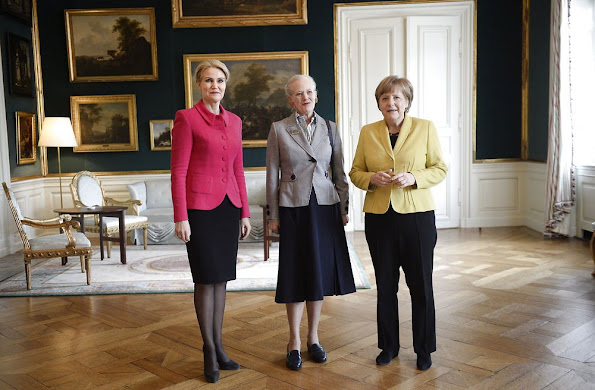 German Chancellor Angela Merkel Queen Margrethe II of Denmark and Prime Minister Helle Thorning-Schmidt