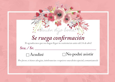 """Ejemplo de tarjeta de """"se ruega confirmación"""" con petición de información sobre alergias alimentarias"""