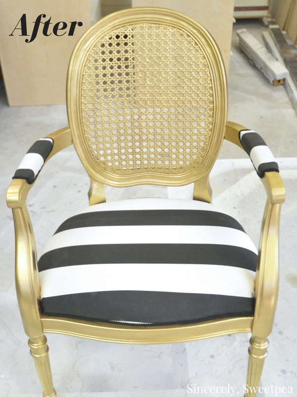 Black and white striped cane chair redo