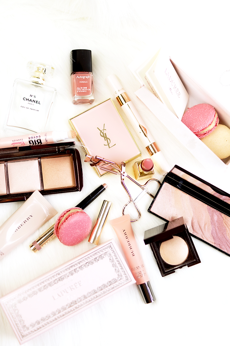 makeup-flatlay-pink-tired-sick-natural-glowing-blog-photography
