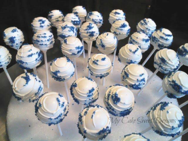 blue wedding cake pops