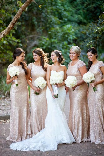 Long Gold Sequined Bridesmaid Dresses