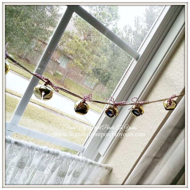 DIY Jingle Bell Garland-French Farmhouse Vintage Christmas Dining Room- From My Front Porch To Yours