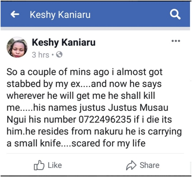 1 - Kikuyu LADY in distress as LOVER threatens to stab her to death, the killer is JUSTUS MUSAU of Phone no 0722 496 235