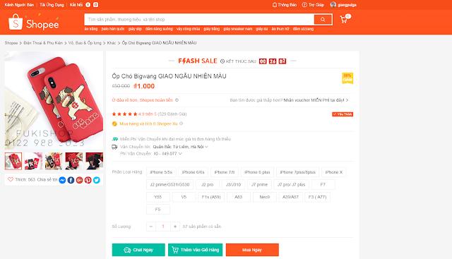 Cách mua hàng 1k trên Shopee