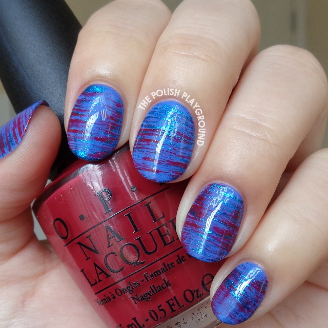 Metallic Blue and Burgundy Red Haze Nail Art