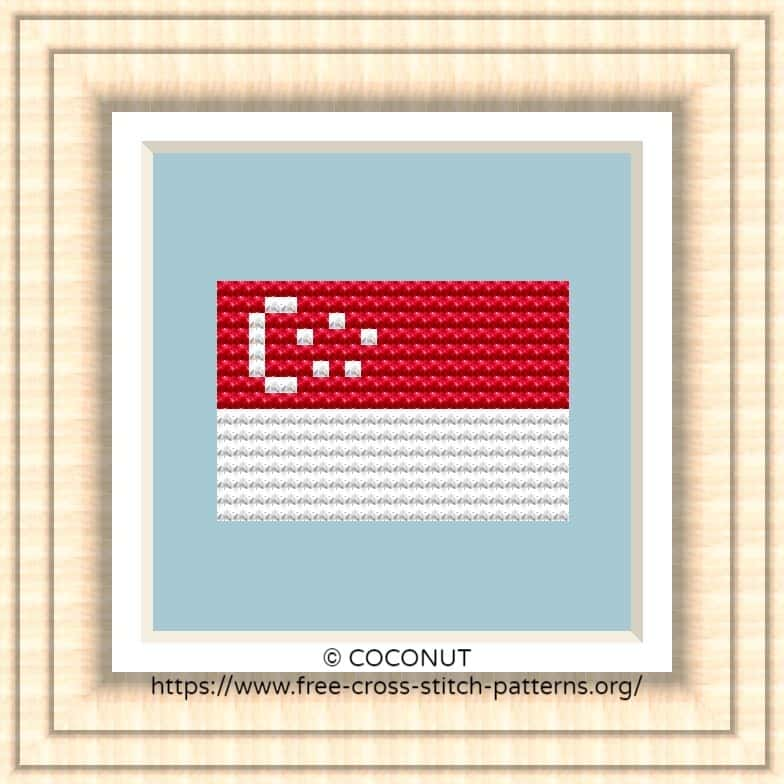 NATIONAL FLAG OF SINGAPORE CROSS STITCH CHART