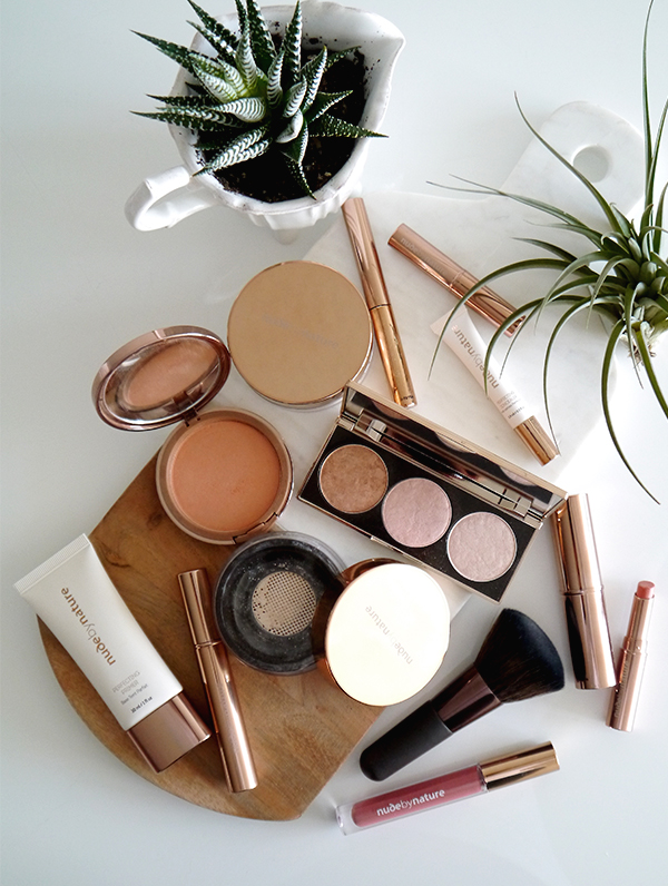 Flatlay featuring Australian natural makeup line Nude by Nature