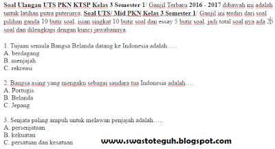 Soal Ulangan UTS PKN KTSP Kelas 3 Semester 1/ Ganjil Terbaru 2016 - 2017
